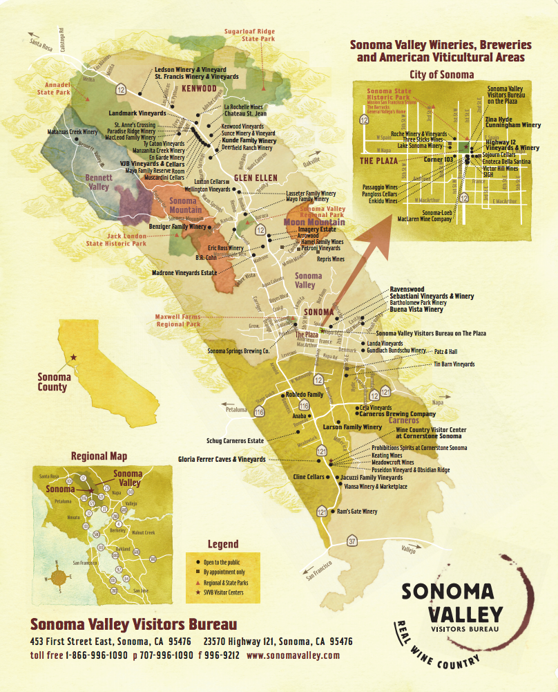 Image of Sonoma Valley Winery Map